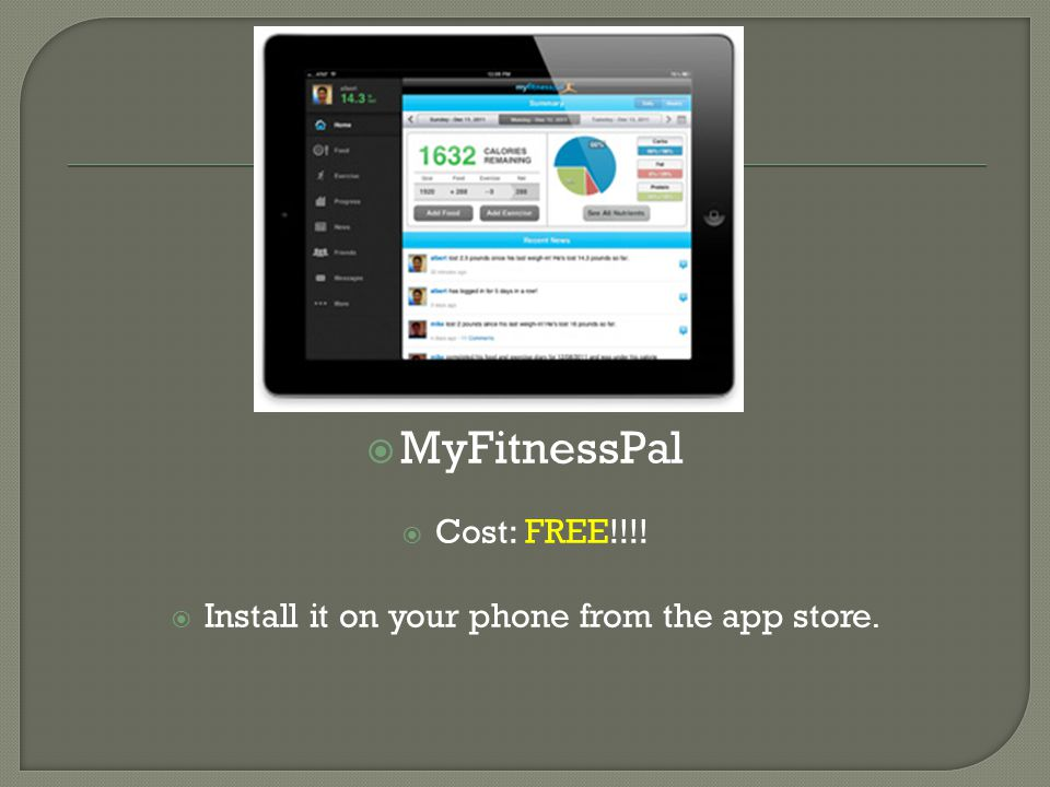  MyFitnessPal  Cost: FREE!!!!  Install it on your phone from the app store.