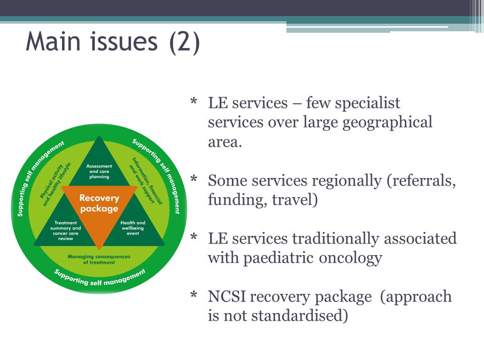Main issues (2) * LE services – few specialist services over large geographical area.