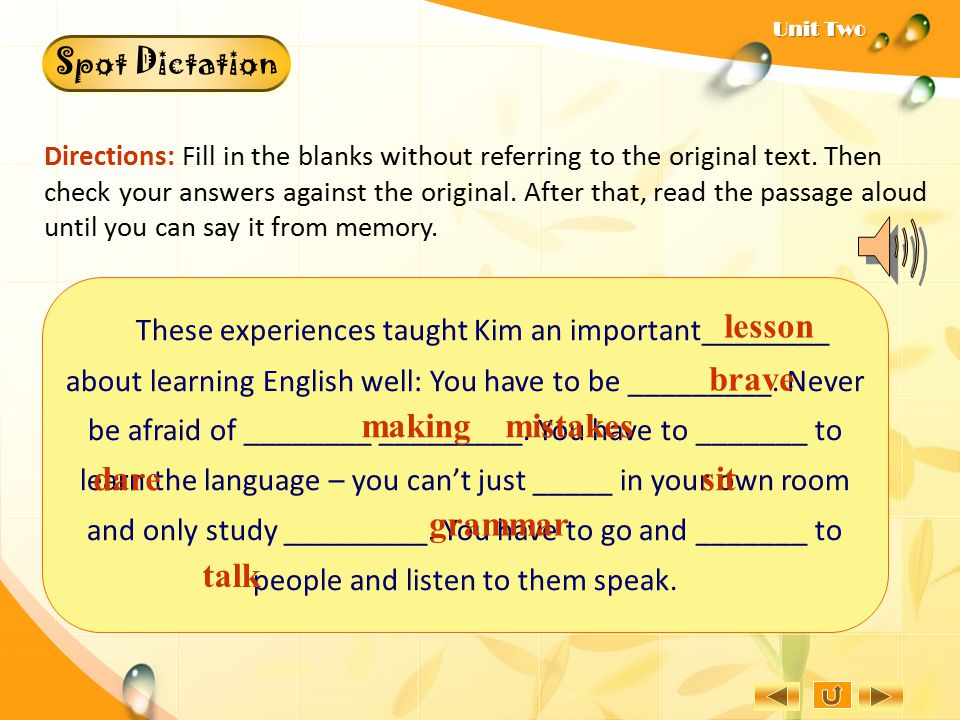 Focusing on Sentence Structure B.