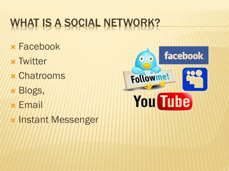  Facebook  Twitter  Chatrooms  Blogs,  Email  Instant Messenger