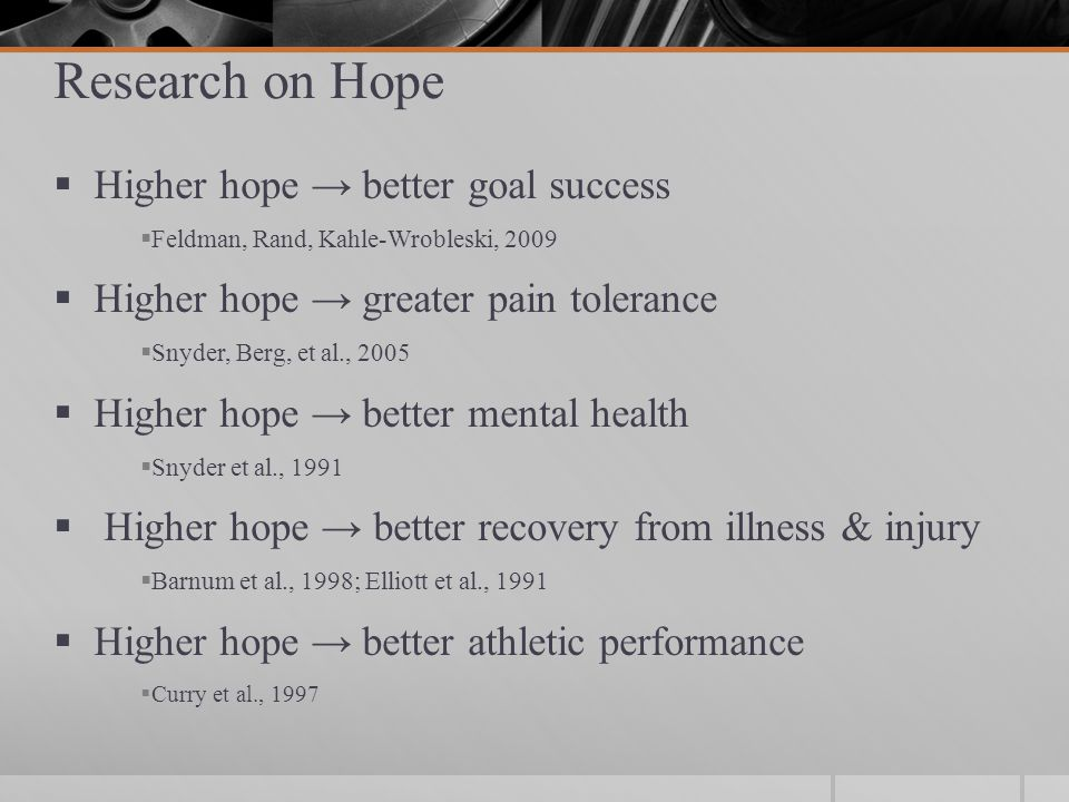 Research on Hope in Higher Education  Higher hope → more engaged & less distressed coping with academic stressors  Alexander & Onwuegbuzie, 2007; Chang, 1998  Higher hope → more positive affect & less test anxiety  Onwuegbuzie, 1998; Snyder, 1999  Higher hope → academic success beyond intelligence  Curry, Snyder, et al., 1997; Rand, 2009  What about legal education?