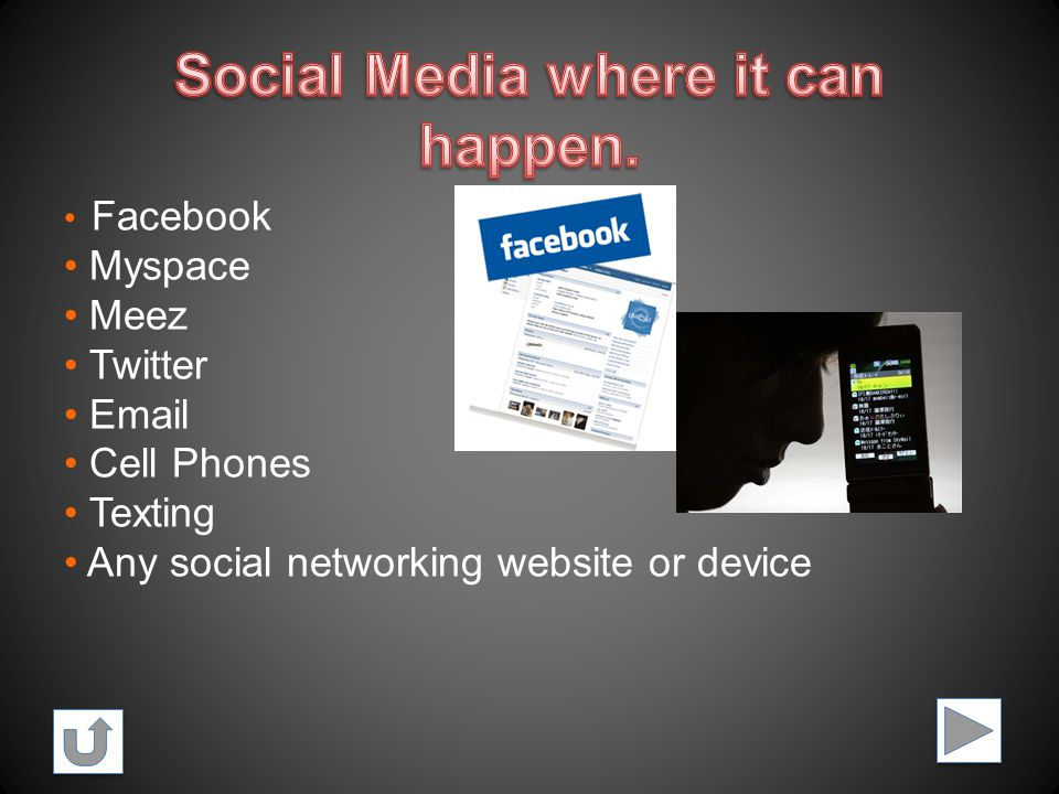 Facebook Myspace Meez Twitter Email Cell Phones Texting Any social networking website or device