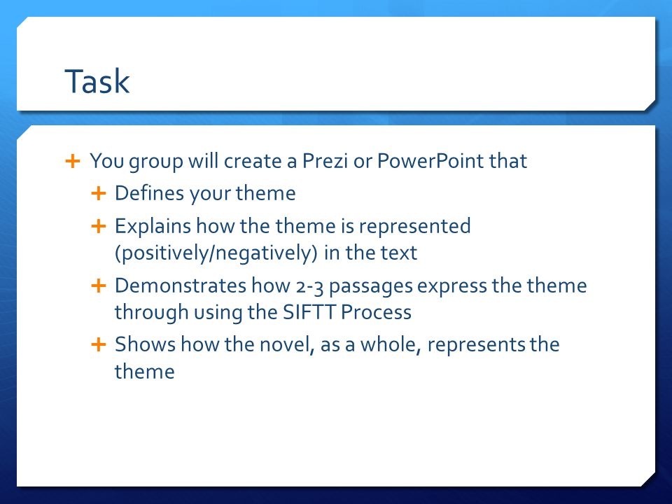 Task  You group will create a Prezi or PowerPoint that  Defines your theme  Explains how the theme is represented (positively/negatively) in the te