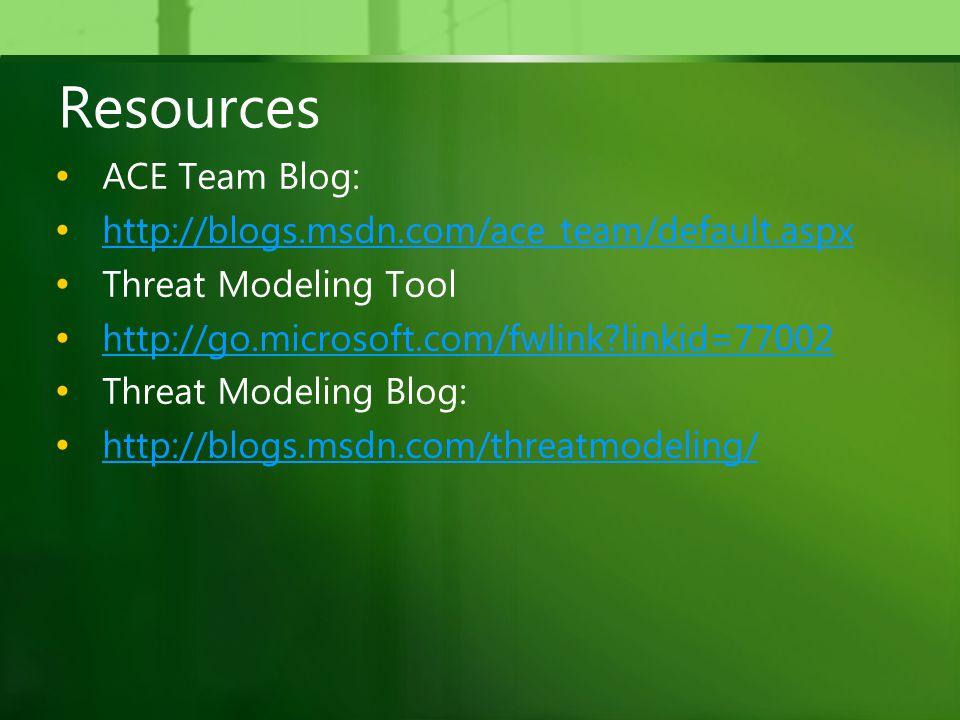 Resources ACE Team Blog: http://blogs.msdn.com/ace_team/default.aspx Threat Modeling Tool http://go.microsoft.com/fwlink?linkid=77002 Threat Modeling Blog: http://blogs.msdn.com/threatmodeling/