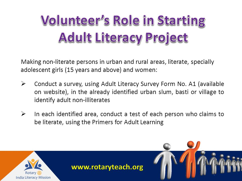 Making non-literate persons in urban and rural areas, literate, specially adolescent girls (15 years and above) and women:  Conduct a survey, using Adult Literacy Survey Form No.