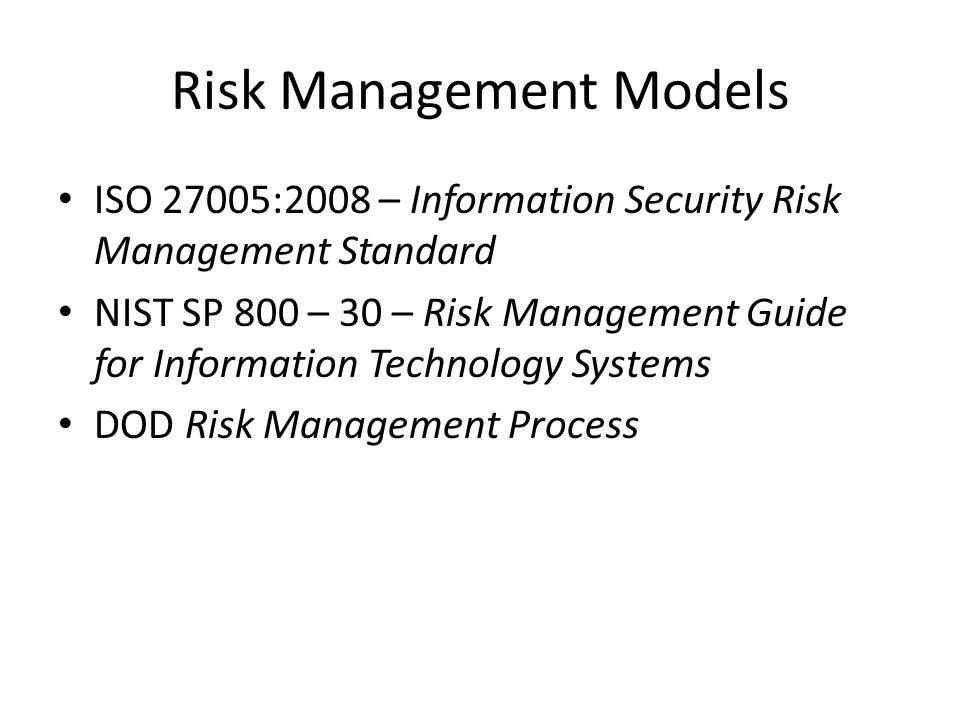 Risk Management Models ISO 27005:2008 – Information Security Risk Management Standard NIST SP 800 – 30 – Risk Management Guide for Information Technol