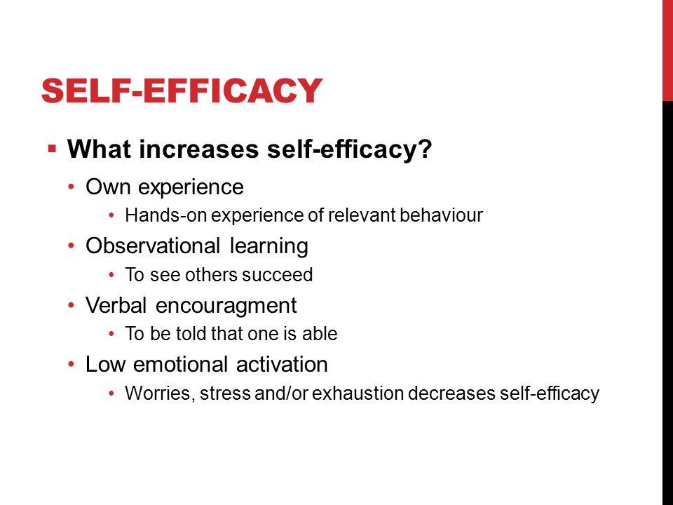 SELF-EFFICACY  What increases self-efficacy.
