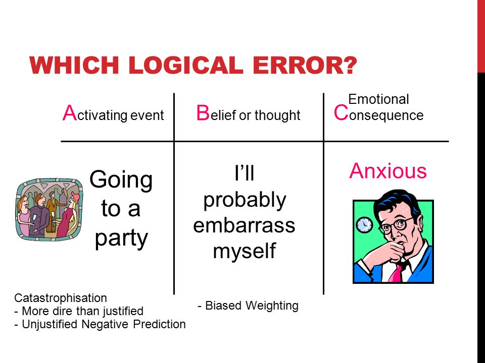 A ctivating event B elief or thought Emotional C onsequence I'll probably embarrass myself Anxious Going to a party WHICH LOGICAL ERROR.