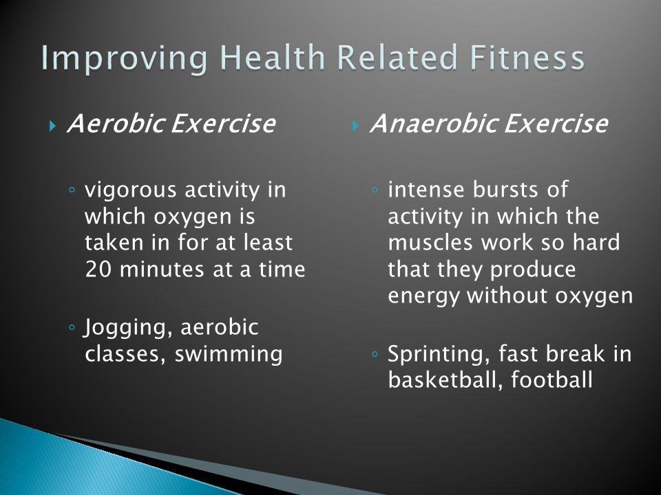  Aerobic Exercise ◦ vigorous activity in which oxygen is taken in for at least 20 minutes at a time ◦ Jogging, aerobic classes, swimming  Anaerobic Exercise ◦ intense bursts of activity in which the muscles work so hard that they produce energy without oxygen ◦ Sprinting, fast break in basketball, football