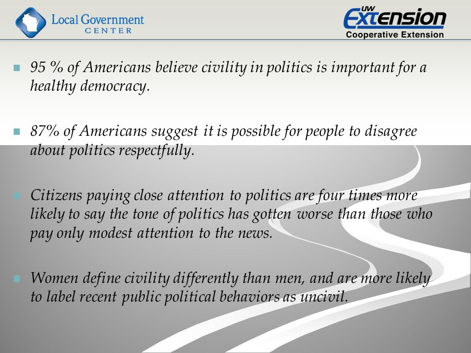 95 % of Americans believe civility in politics is important for a healthy democracy.