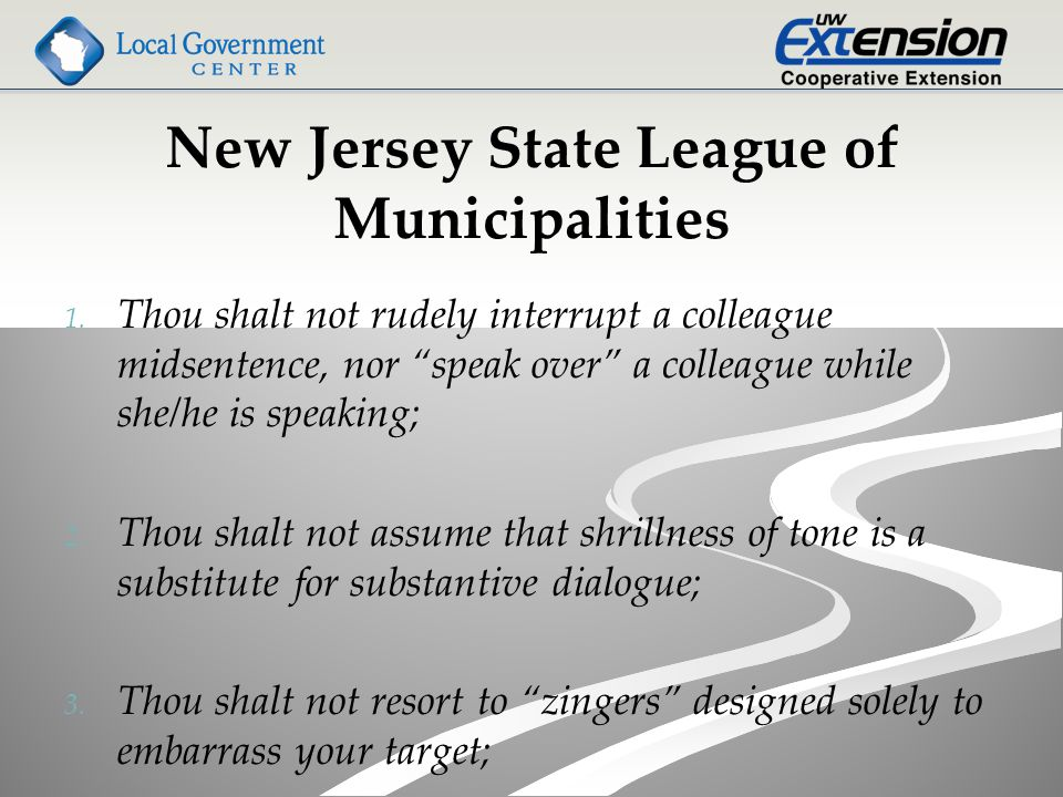 New Jersey State League of Municipalities 1. 1.