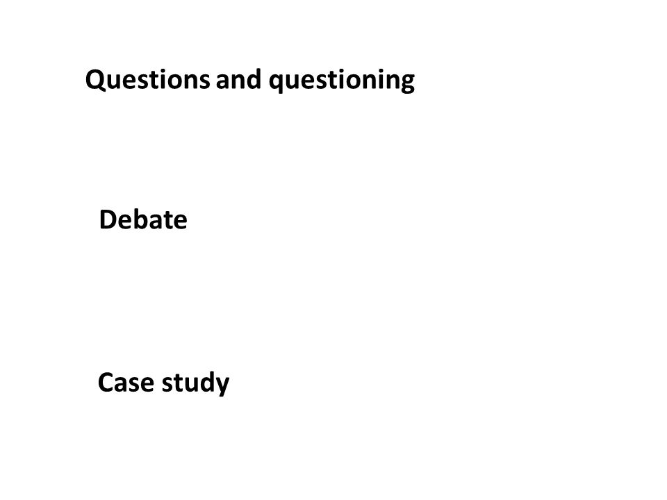 Questions and questioning Case study Debate