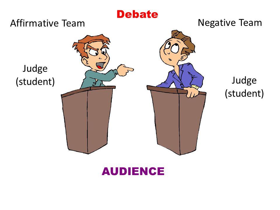 Affirmative Team Negative Team AUDIENCE Judge (student) Debate