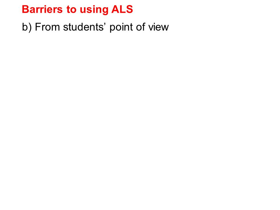 b) From students' point of view Barriers to using ALS