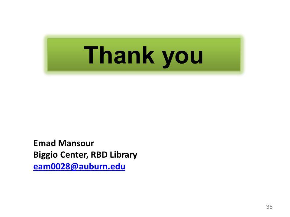 35 Thank you Emad Mansour Biggio Center, RBD Library eam0028@auburn.edu