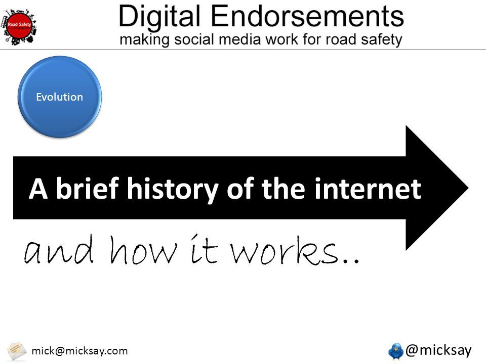 @micksay mick@micksay.com A brief history of the internet and how it works.. Evolution