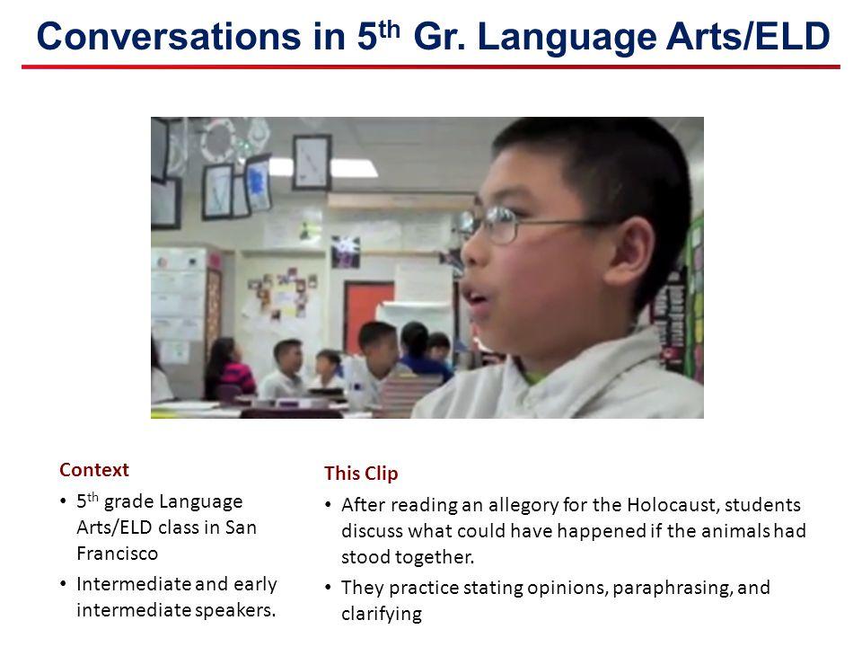 Conversations in 5 th Gr. Language Arts/ELD Context 5 th grade Language Arts/ELD class in San Francisco Intermediate and early intermediate speakers.
