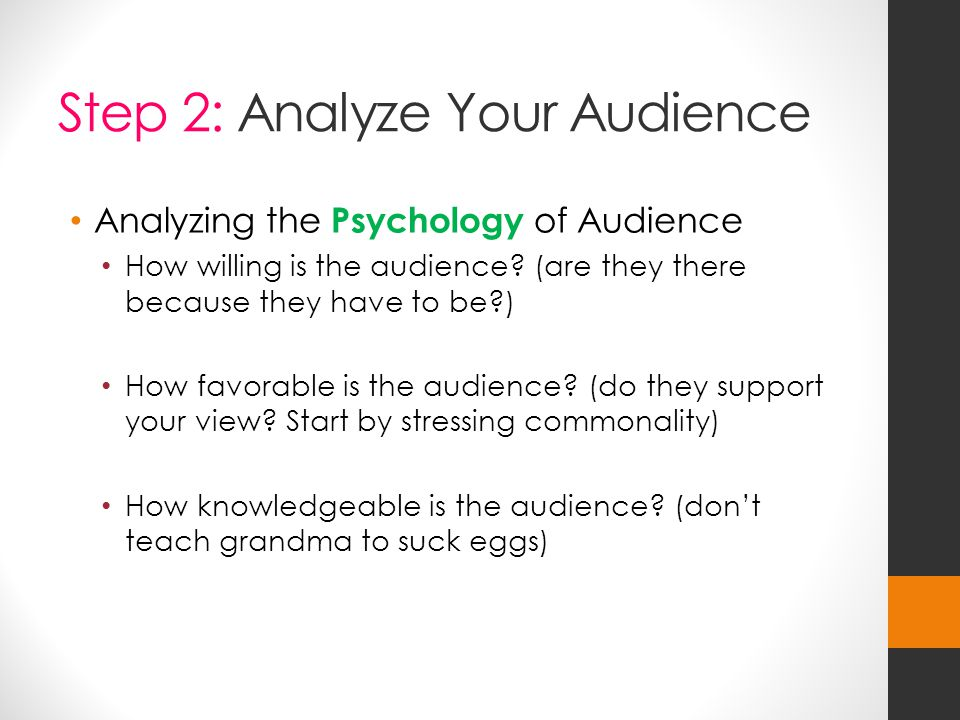 Step 2: Analyze Your Audience Analyzing the Psychology of Audience How willing is the audience.