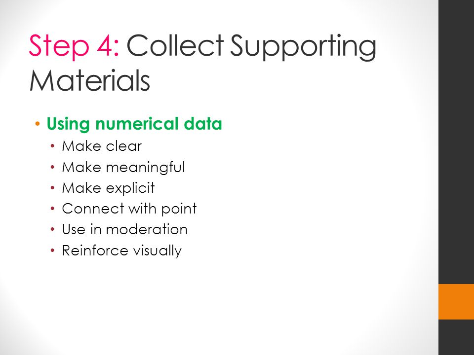 Step 4: Collect Supporting Materials Using numerical data Make clear Make meaningful Make explicit Connect with point Use in moderation Reinforce visually