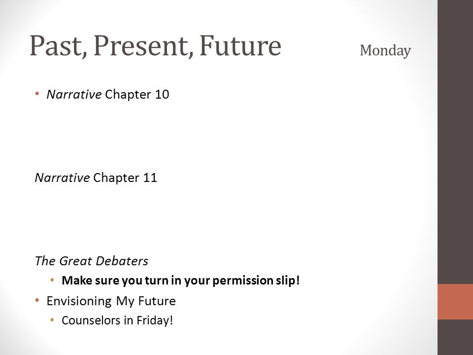 Past, Present, Future Monday Narrative Chapter 10 Narrative Chapter 11 The Great Debaters Make sure you turn in your permission slip! Envisioning My F