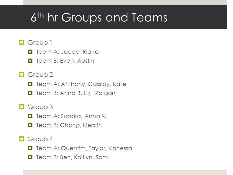 6 th hr Groups and Teams  Group 1  Team A: Jacob, Riana  Team B: Evan, Austin  Group 2  Team A: Anthony, Cassidy, Kalie  Team B: Anna B, Liz, Mo