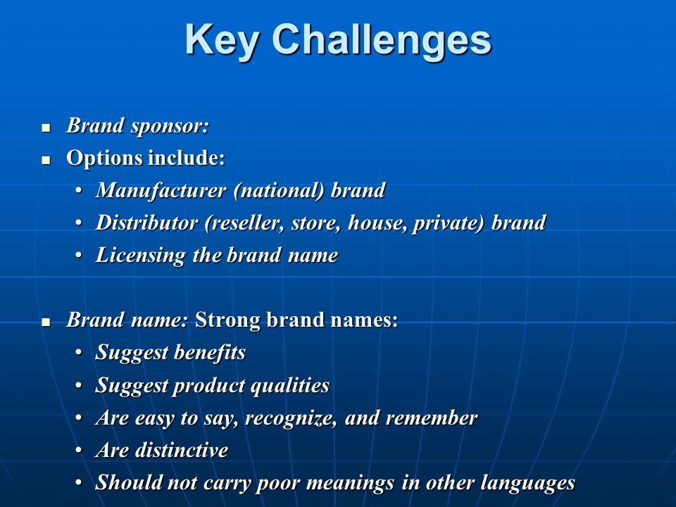 Key Challenges Brand sponsor: Brand sponsor: Options include: Options include: Manufacturer (national) brandManufacturer (national) brand Distributor