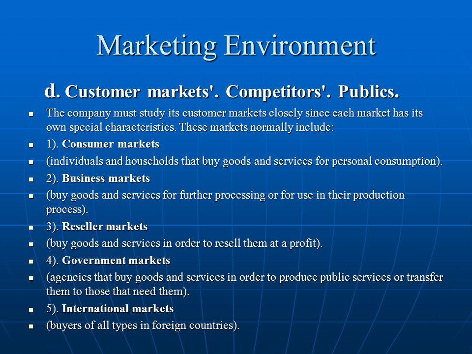Marketing Environment d. Customer markets'. Competitors'. Publics. d. Customer markets'. Competitors'. Publics. The company must study its customer ma
