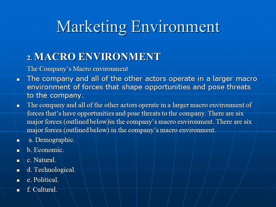 Marketing Environment 2. MACRO ENVIRONMENT 2. MACRO ENVIRONMENT The Company's Macro environment The Company's Macro environment The company and all of