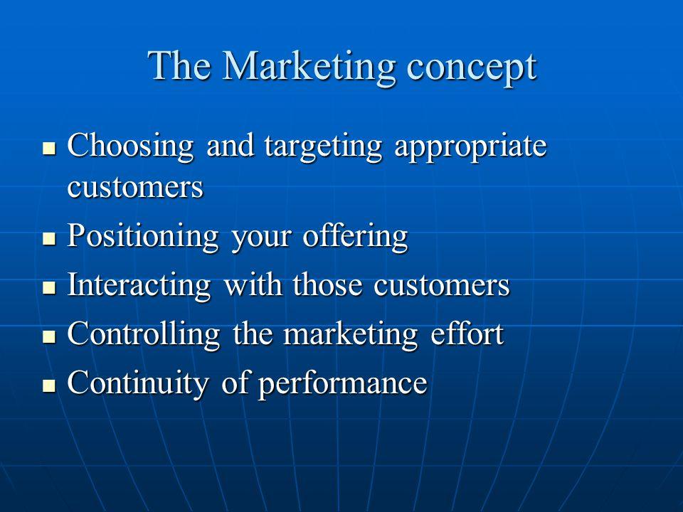 The Marketing concept Customer focus, profits, and integration of organizational efforts.