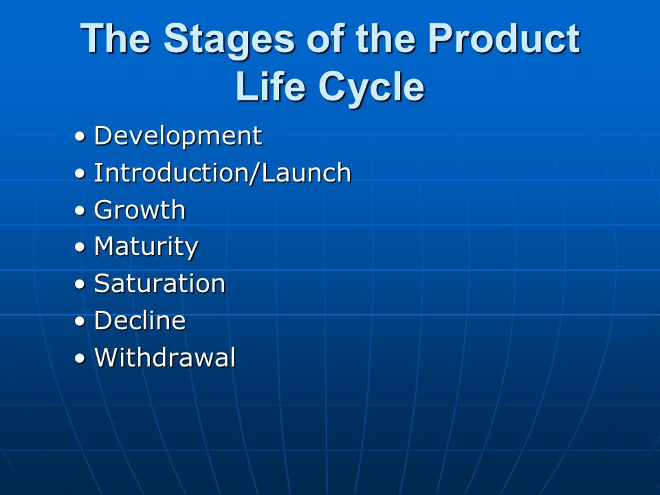 The Stages of the Product Life Cycle DevelopmentDevelopment Introduction/LaunchIntroduction/Launch GrowthGrowth MaturityMaturity SaturationSaturation