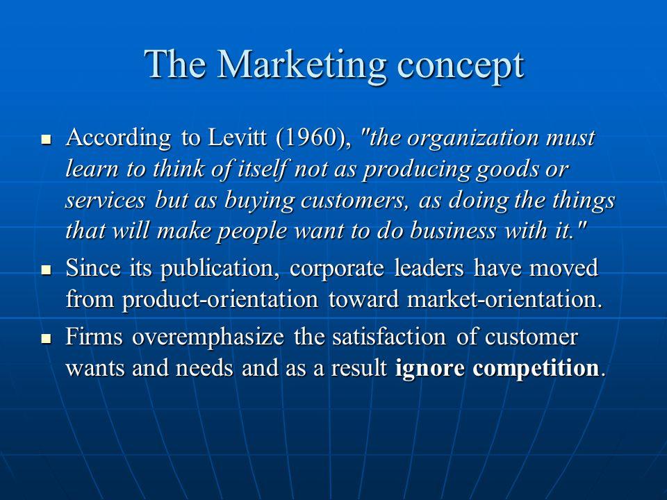 The Marketing concept Profitable Profitable Offensive (rather than defensive) Offensive (rather than defensive) Integrated Integrated Strategic (is future orientated) Strategic (is future orientated) Effective (gets results) Effective (gets results) Davidson (1972) Davidson (1972)