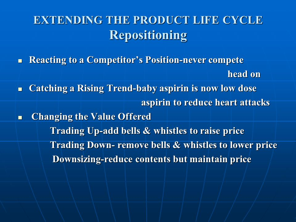 EXTENDING THE PRODUCT LIFE CYCLE Repositioning Reacting to a Competitor's Position-never compete Reacting to a Competitor's Position-never compete hea
