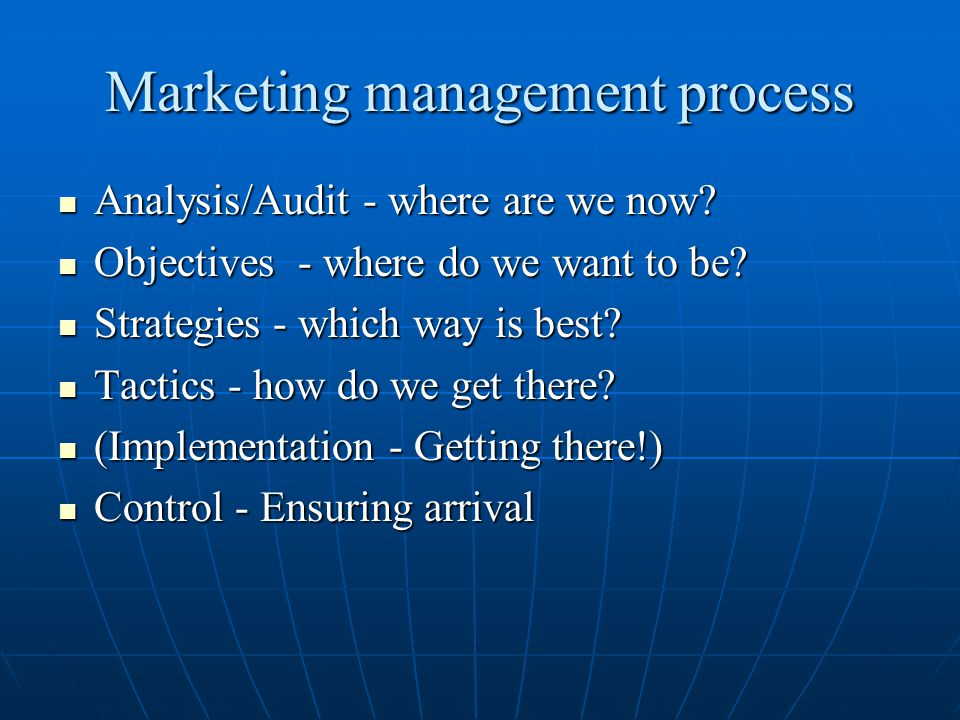 Marketing management process Analysis/Audit - where are we now? Analysis/Audit - where are we now? Objectives - where do we want to be? Objectives - w