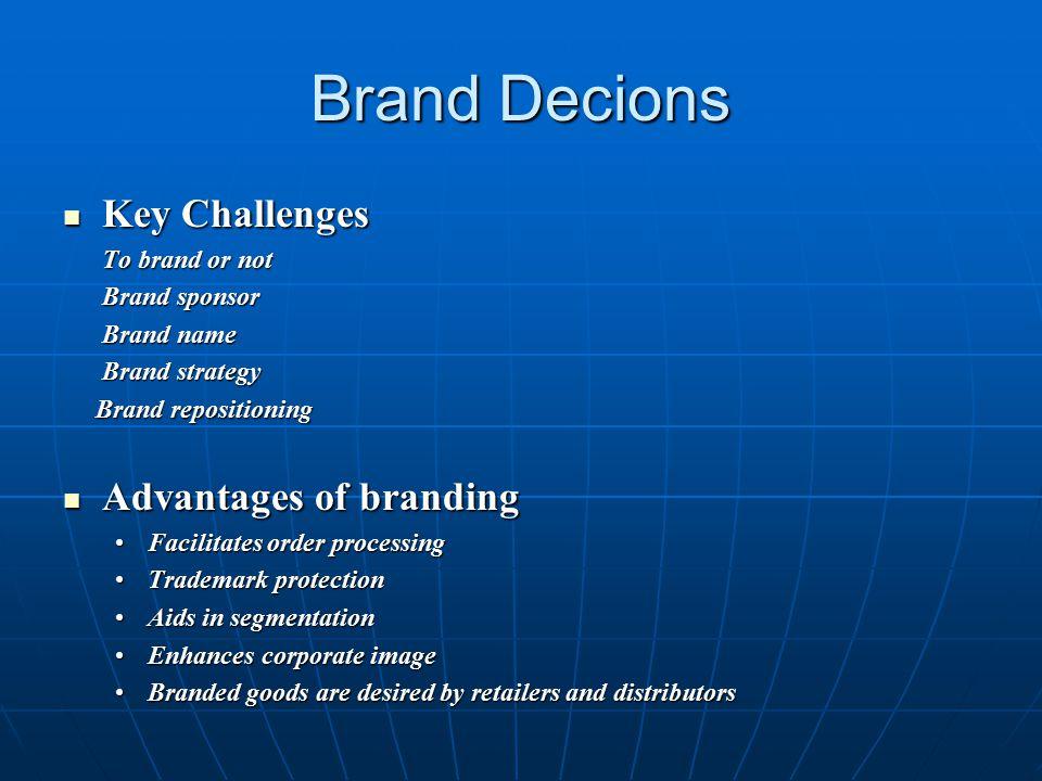 Brand Decions Key Challenges Key Challenges To brand or not To brand or not Brand sponsor Brand sponsor Brand name Brand name Brand strategy Brand str