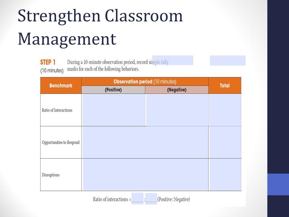 Strengthen Classroom Management