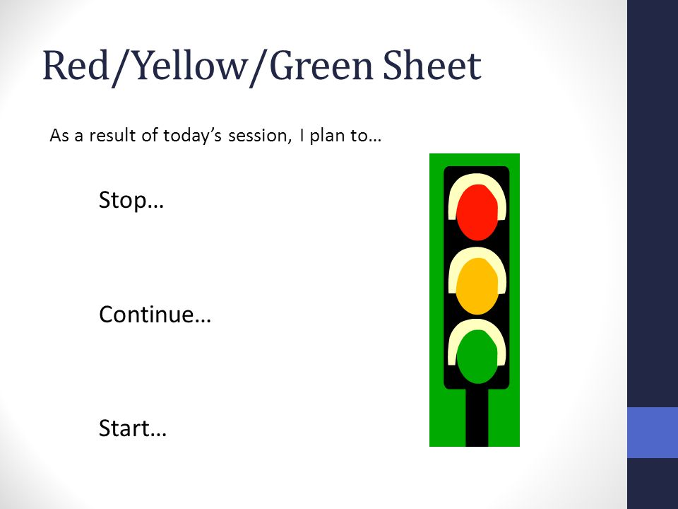 Red/Yellow/Green Sheet As a result of today's session, I plan to… Stop… Continue… Start…