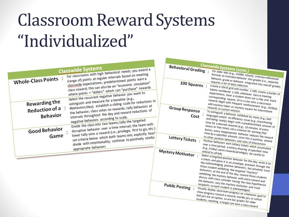 "Classroom Reward Systems ""Individualized"""