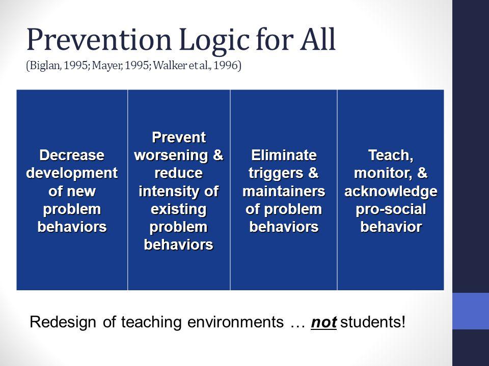 Prevention Logic for All (Biglan, 1995; Mayer, 1995; Walker et al., 1996) Decrease development of new problem behaviors Prevent worsening & reduce int
