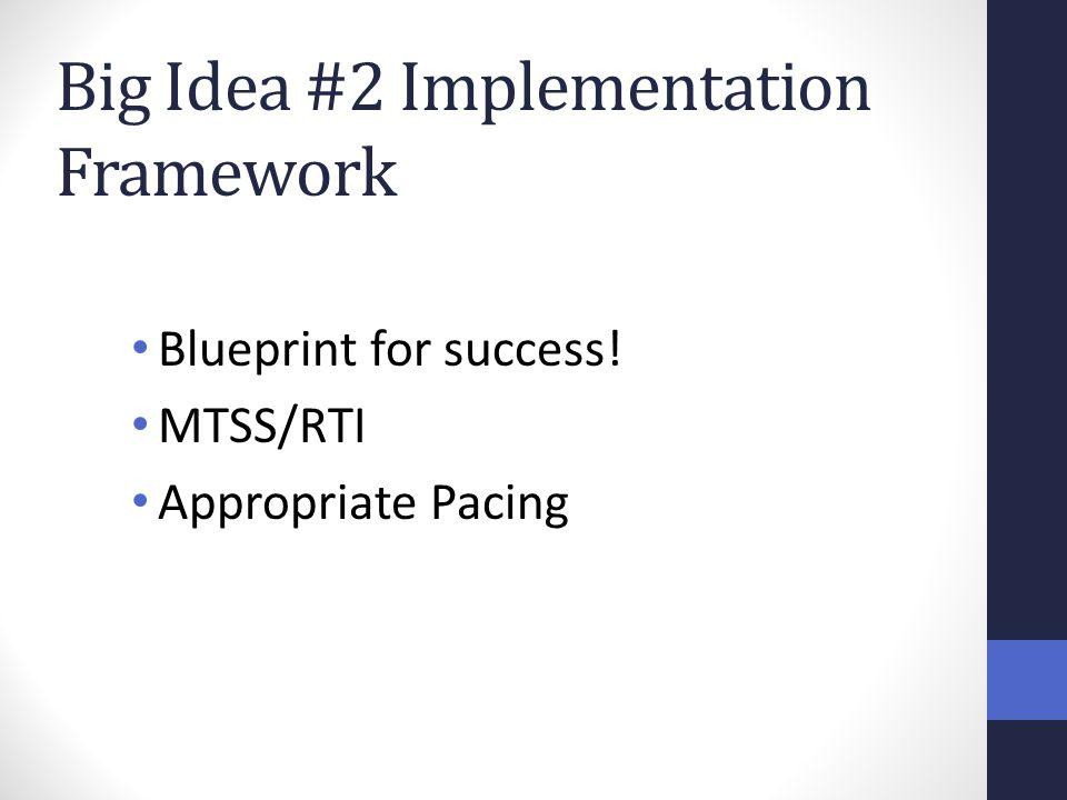 Big Idea #2 Implementation Framework Blueprint for success! MTSS/RTI Appropriate Pacing