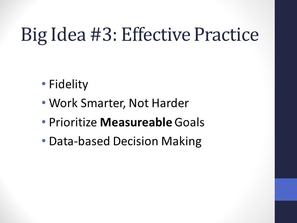 Big Idea #3: Effective Practice Fidelity Work Smarter, Not Harder Prioritize Measureable Goals Data-based Decision Making