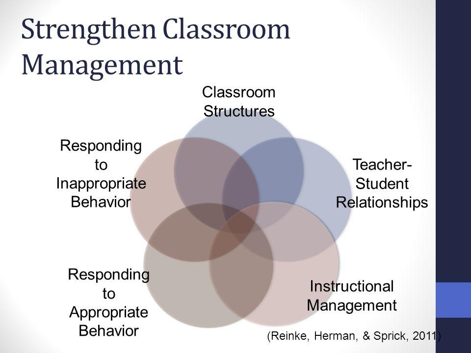Strengthen Classroom Management Classroom Structures Teacher- Student Relationships Instructional Management Responding to Appropriate Behavior Respon