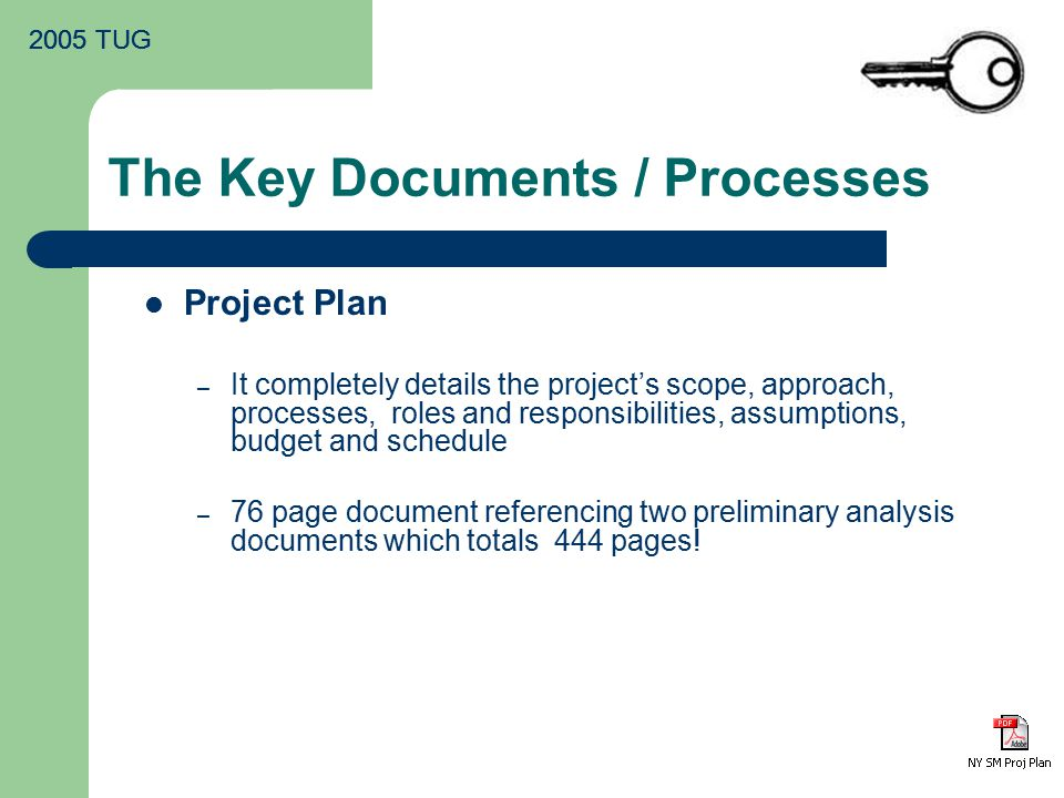 2005 TUG The Key Documents / Processes Project Plan – It completely details the project's scope, approach, processes, roles and responsibilities, assumptions, budget and schedule – 76 page document referencing two preliminary analysis documents which totals 444 pages!