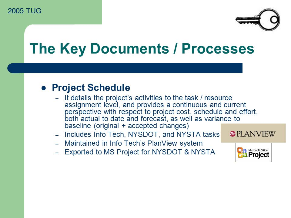 2005 TUG The Key Documents / Processes Project Schedule – It details the project's activities to the task / resource assignment level, and provides a continuous and current perspective with respect to project cost, schedule and effort, both actual to date and forecast, as well as variance to baseline (original + accepted changes) – Includes Info Tech, NYSDOT, and NYSTA tasks – Maintained in Info Tech's PlanView system – Exported to MS Project for NYSDOT & NYSTA