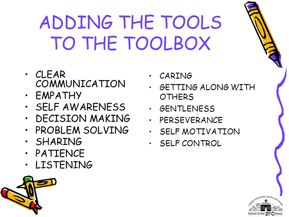ADDING THE TOOLS TO THE TOOLBOX CLEAR COMMUNICATION EMPATHY SELF AWARENESS DECISION MAKING PROBLEM SOLVING SHARING PATIENCE LISTENING CARING GETTING ALONG WITH OTHERS GENTLENESS PERSEVERANCE SELF MOTIVATION SELF CONTROL