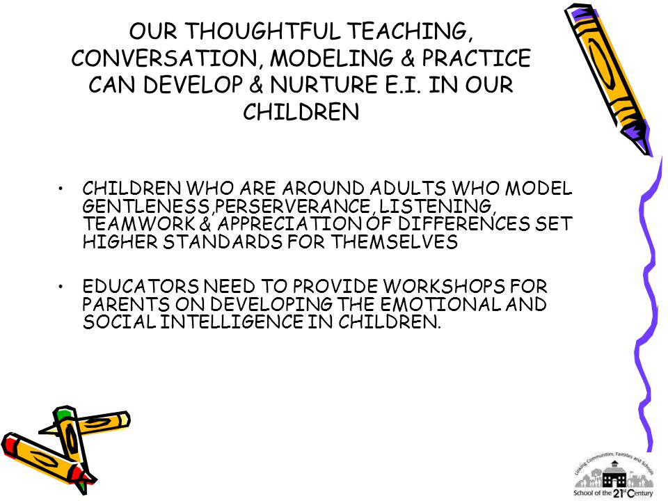 OUR THOUGHTFUL TEACHING, CONVERSATION, MODELING & PRACTICE CAN DEVELOP & NURTURE E.I.