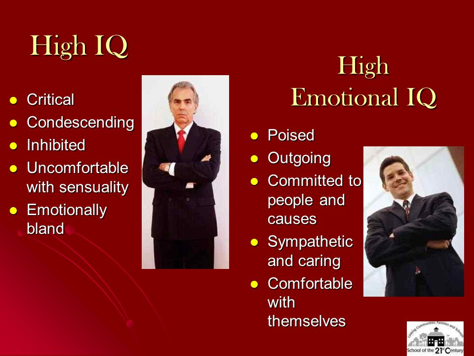 High IQ Critical Critical Condescending Condescending Inhibited Inhibited Uncomfortable with sensuality Uncomfortable with sensuality Emotionally bland Emotionally bland High Emotional IQ Poised Poised Outgoing Outgoing Committed to people and causes Committed to people and causes Sympathetic and caring Sympathetic and caring Comfortable with themselves Comfortable with themselves