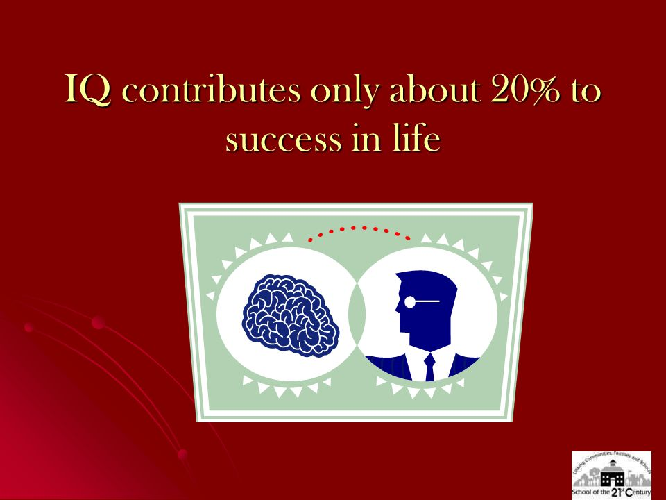 IQ contributes only about 20% to success in life