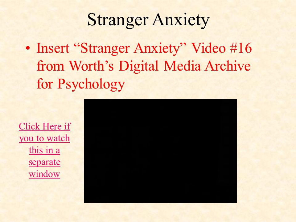 Stranger Anxiety Insert Stranger Anxiety Video #16 from Worth's Digital Media Archive for Psychology Click Here if you to watch this in a separate window