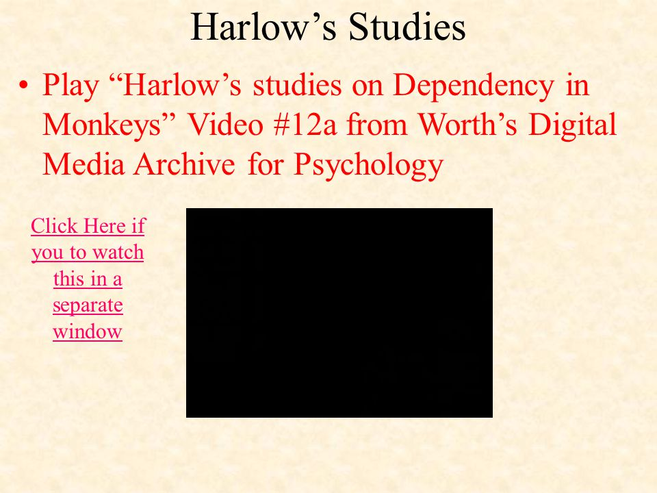 Harlow's Studies Play Harlow's studies on Dependency in Monkeys Video #12a from Worth's Digital Media Archive for Psychology Click Here if you to watch this in a separate window