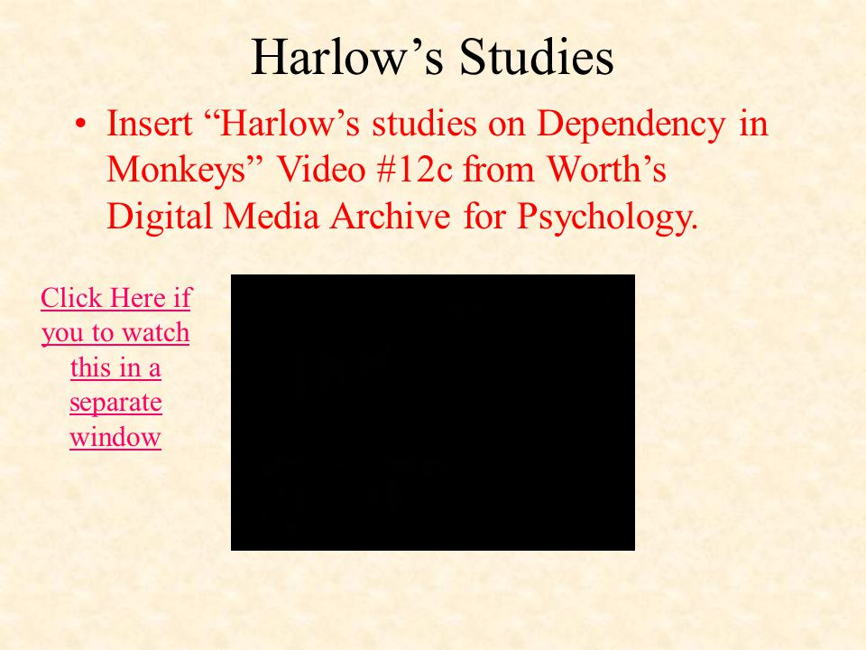 Harlow's Studies Insert Harlow's studies on Dependency in Monkeys Video #12c from Worth's Digital Media Archive for Psychology.